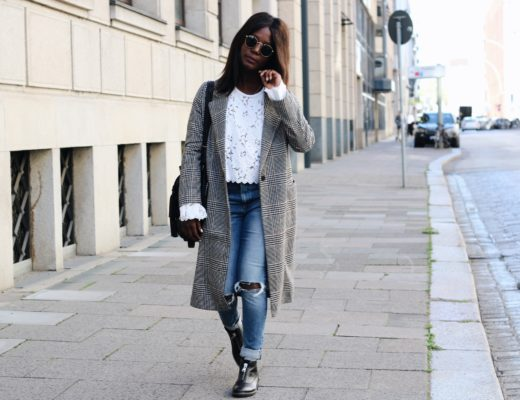 Lace checkered Coat and ripped Jeans